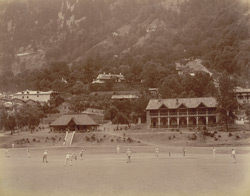 View of a cricket match in progress on the sports ground at Naini Tal